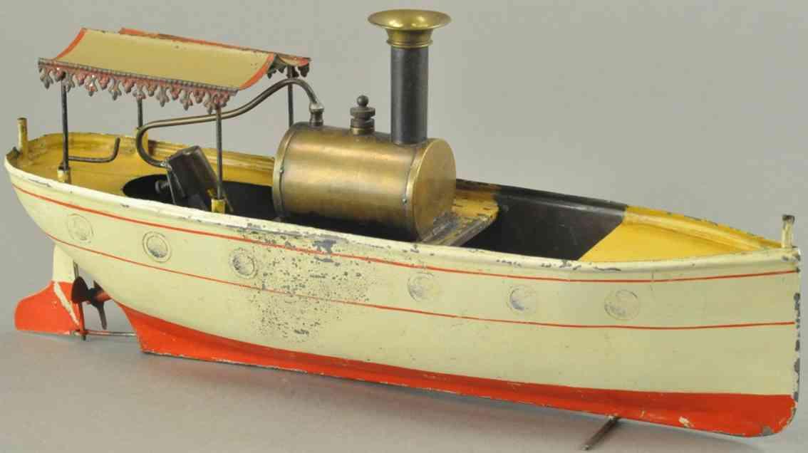 carette 621/1 blech spielzeug flussboot mit baldachin weiss rot