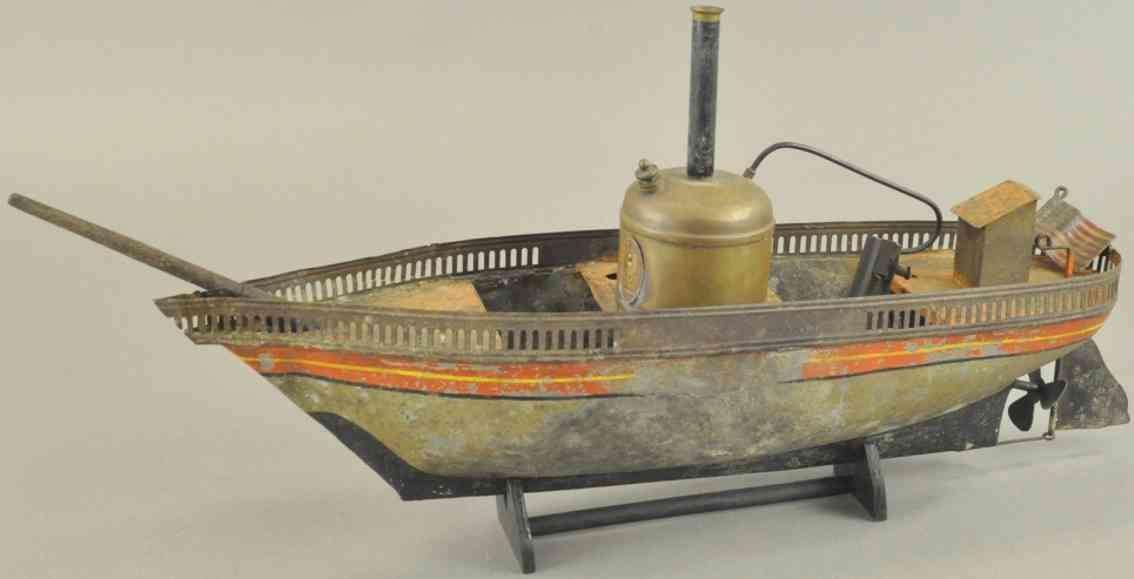 carette blech spielzeug dampfbetriebenes flussboot gelaender messing kessel