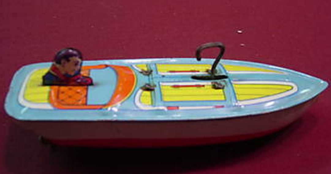 chein co 56 tin toy mechanical boat wind-up