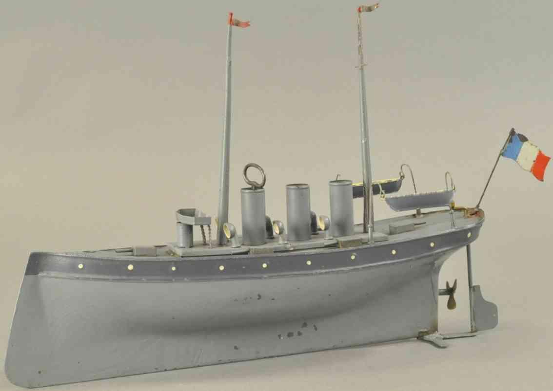 heller & coudray blech spielzeug kriegsschiff grau uhrwerk drei schornsteine