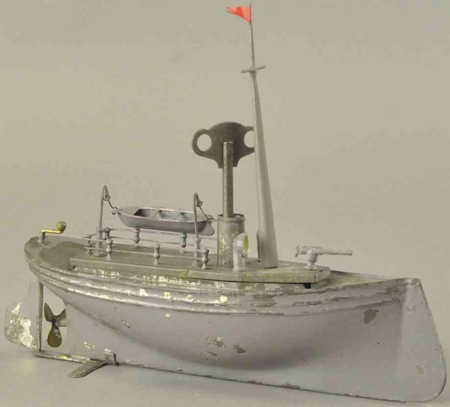 heller & coudray blech kriegsschiff grau ein Schornstein rettungsboot uhrwerk