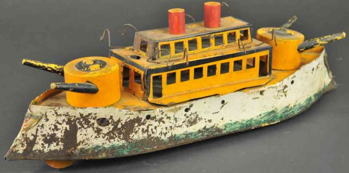 dayton blech spielzeug kriegsschiff aus blech mit holzkanonen und schwungrad verbor
