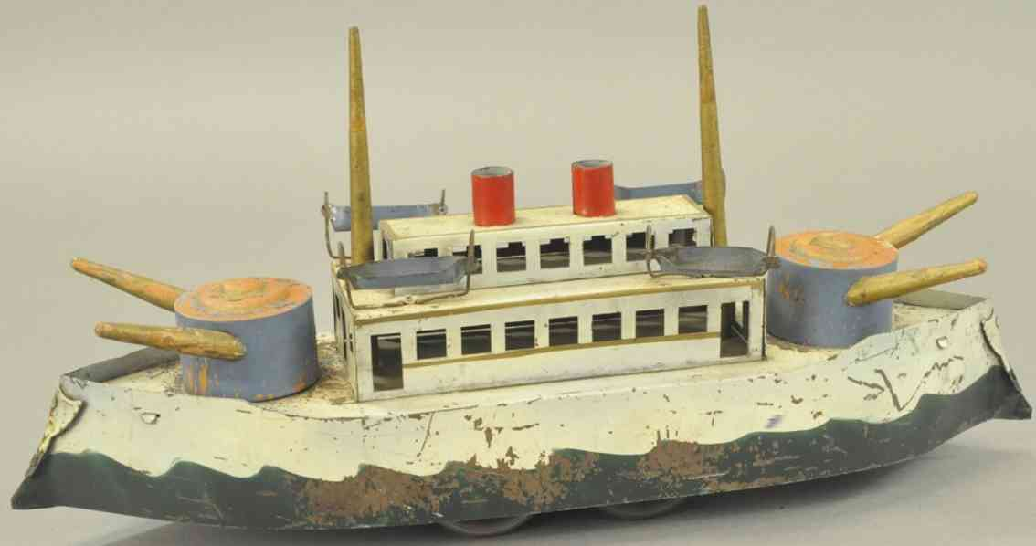 dayton blech spielzeug kriegsschiff creme gruen blau schwungrad