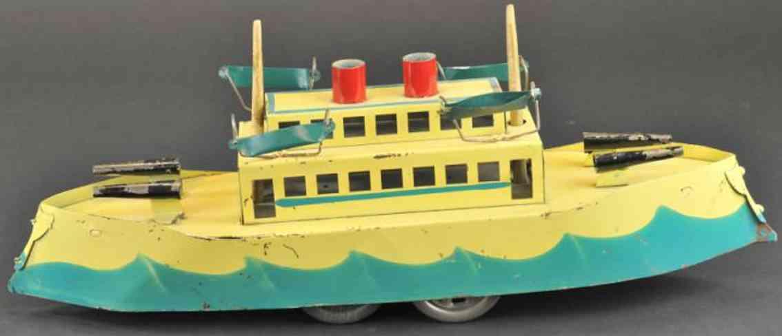 dayton friction stahlblech spielzeug kriegsschiff creme blau