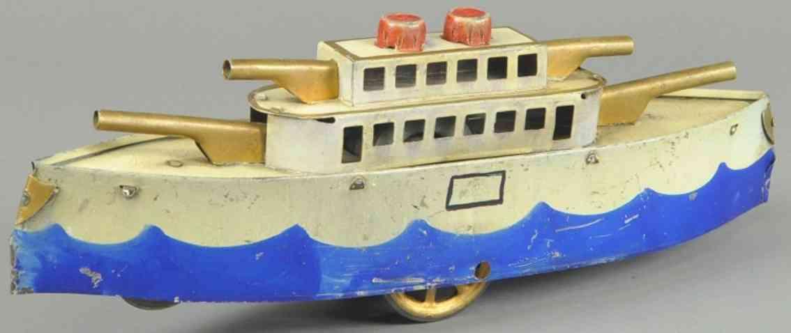 dayton friction spielzeug altes kriegsschiff stahlblech creme blau