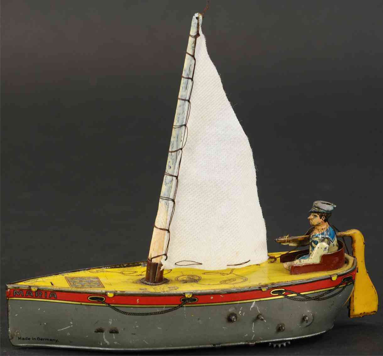 eberl hans blech spielzeug ebo hipp-hipp segelboot maria mit uhrwerk