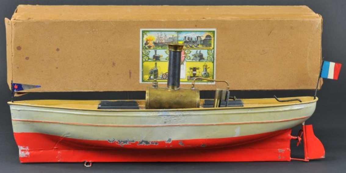 falk 193 blech spielzeug schiff dampfbarkasse grau rot