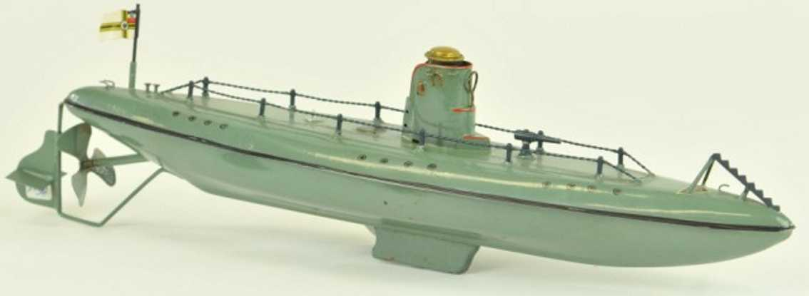 fleischmann 670/33 tin toy submarine green clockwork
