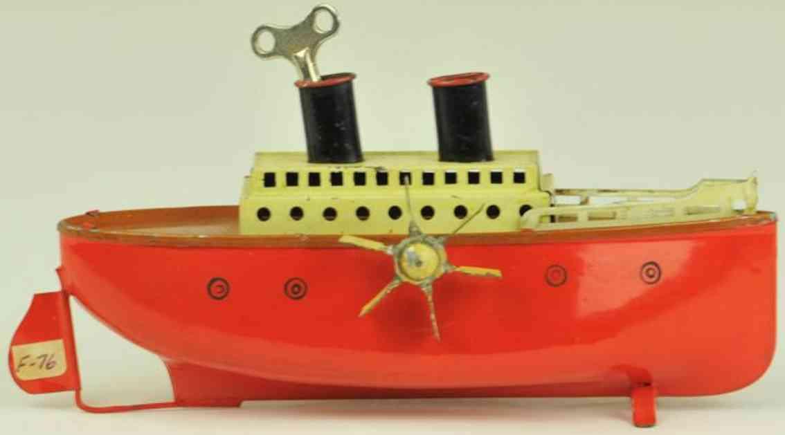 fleischmann 750/18 tin toy ship paddle wheeler red creme