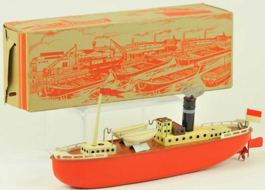 fleischmann 820 tin toy gub boat clockwork red