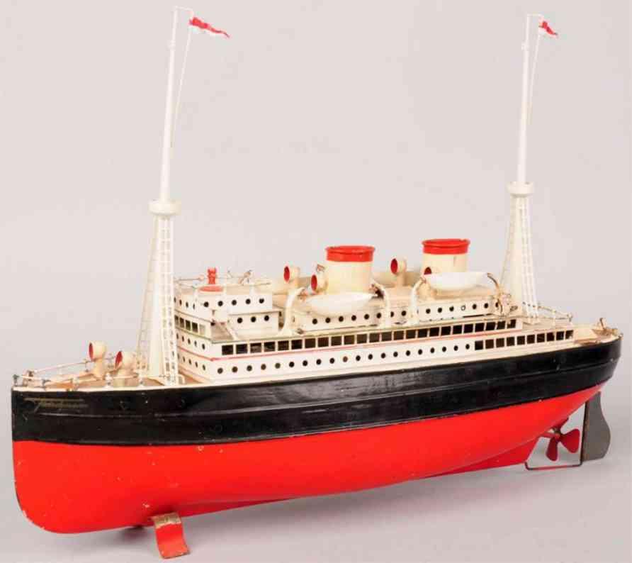 fleischmann 830/45 tin toy ship tin ocean liner wind-up boat