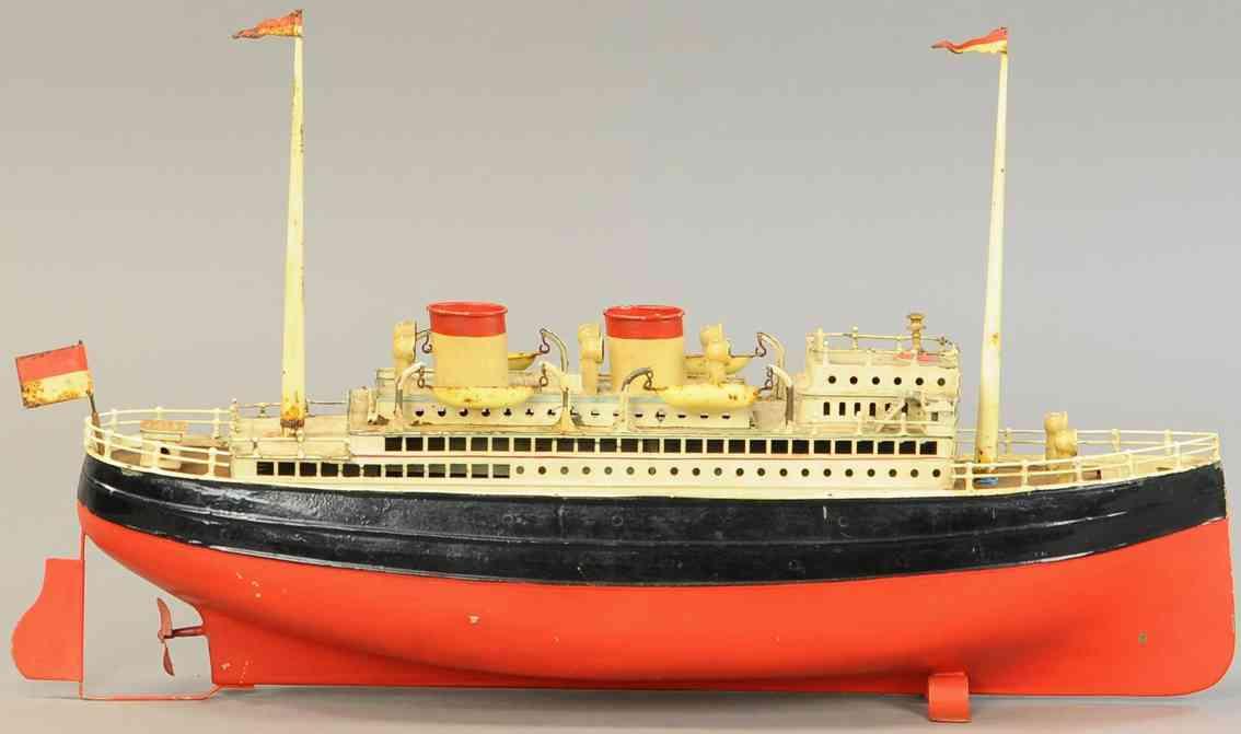 fleischmann 830/50 blech spielzeug albert ballin ozeandampfer rot schwarz uhrwerk