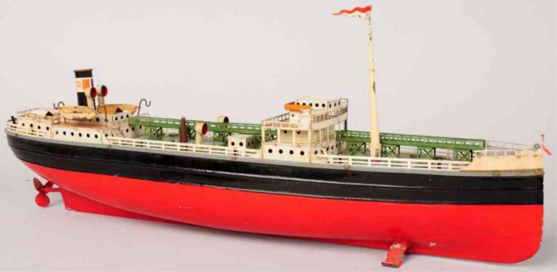 fleischmann 855 tin toy ship esso tanker boat gasoline steamer windup