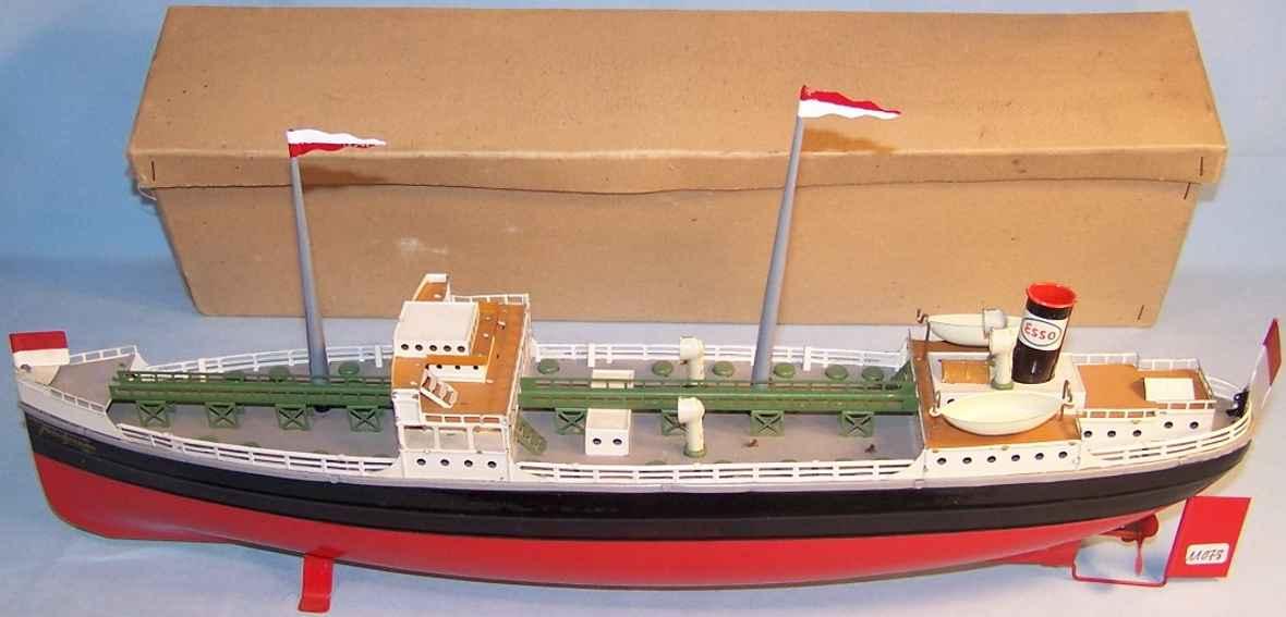 fleischmann 856 tin toy bath steamer with clockwork as a tanker esso