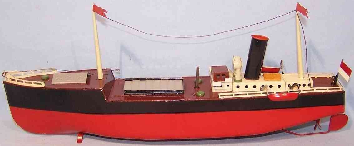 fleischmann 860-39 tin toy cargo ship  red black brwon clockwork two lifeboats