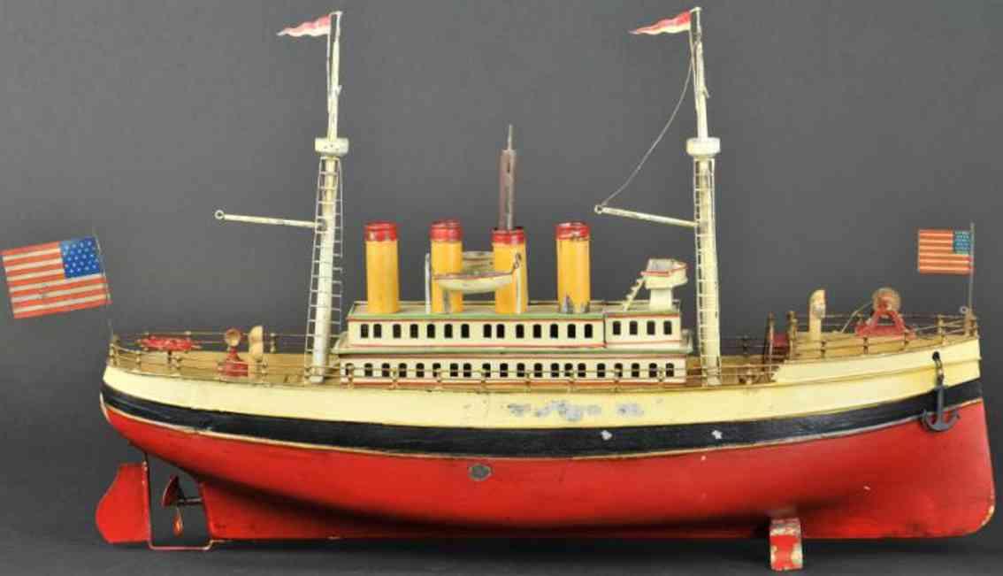 fleischmann 960 tin toy ship liner red white clockwork