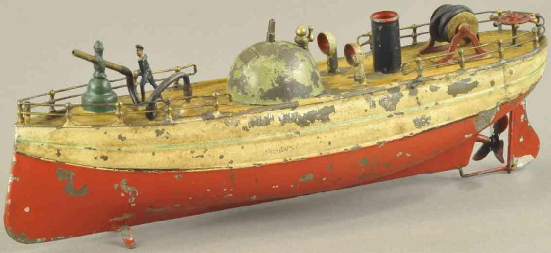 fleischmann 511 blech spielzeug feuerwehrboot ein schlot seemann wasserduese uhrwerk