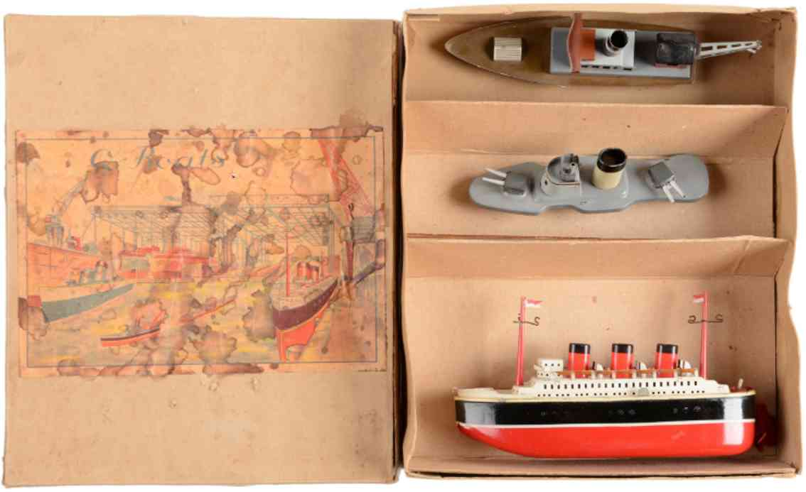 fleischmann tin boats set wind-up toy ocean linger merchant battle ship