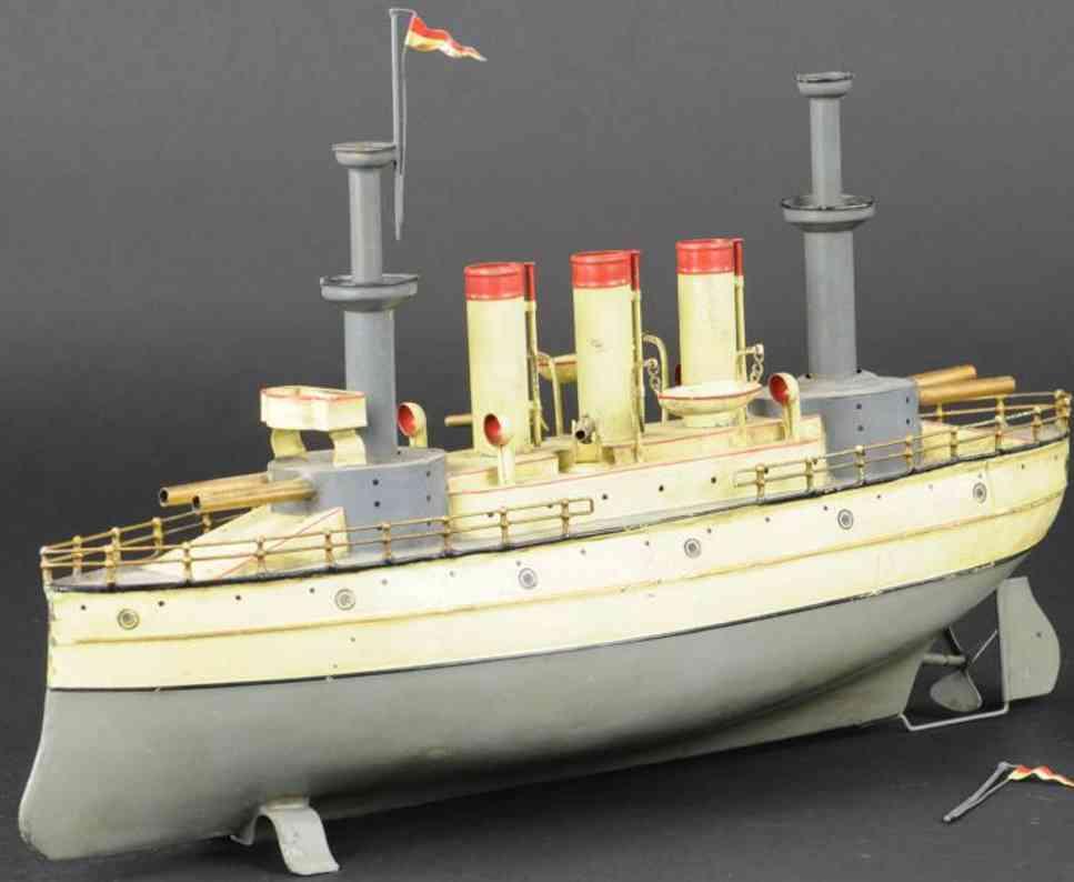fleischmann blech spielzeug kriegsschiff  creme grau uhrwerk