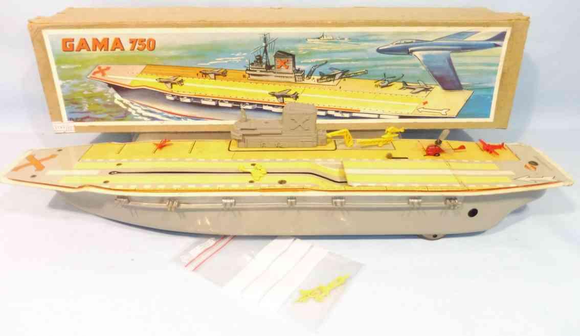 gama 750 blech spielzeug schiff flugzeugtraeger uhrwerk