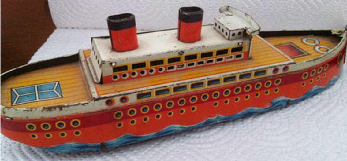gescha blech spielzeug uhrwerkschiff, made in germany,