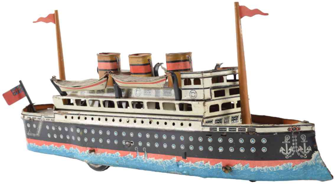 guenthermann tin ocean liner wind-up toy