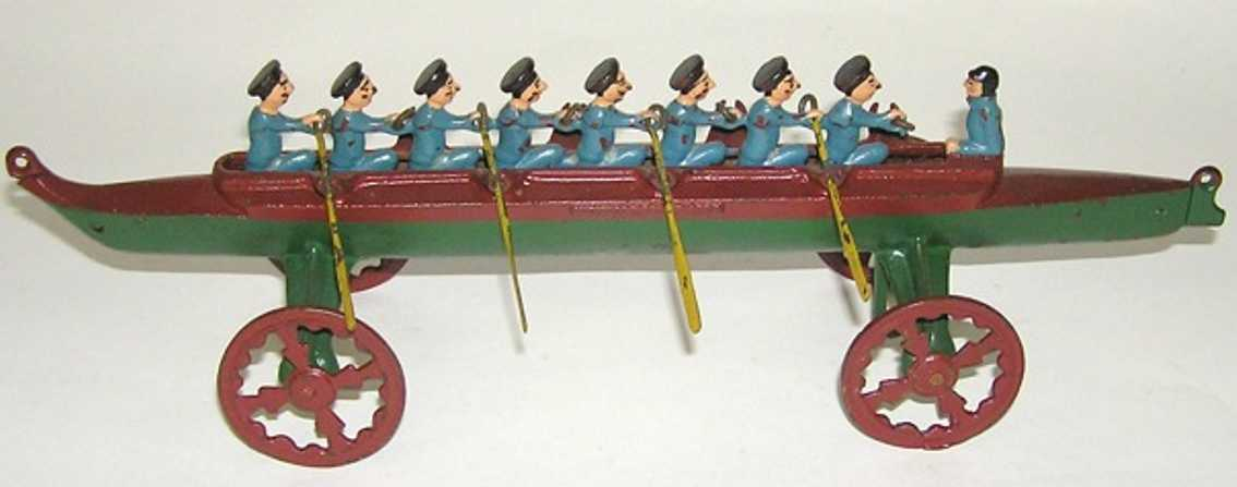 u.s. hardware co. cast iron toy eight man racing scull