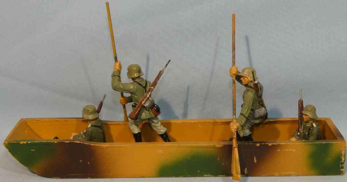hausser elastolin militaer spielzeug kanu vier mann besatzung masse holz metall