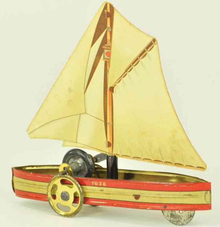 hess 1038 blech spielzeug segelboot schwungrad