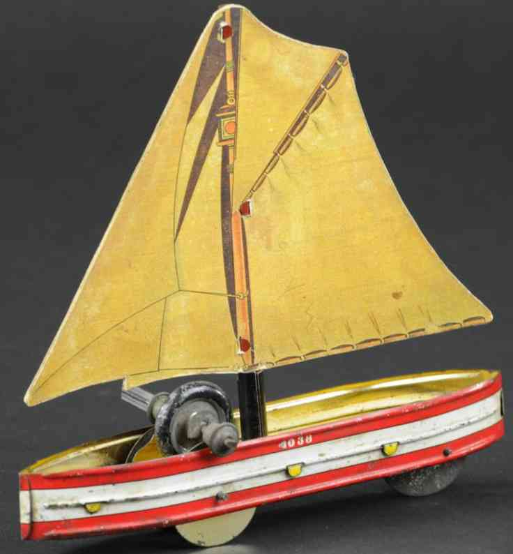 hess 1038 blech spielzeug segelboot rot weiss schwungrad