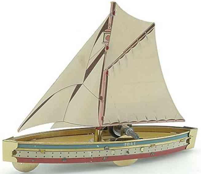 hess 1041 blech spielzeug schiff segelboot schwungrad