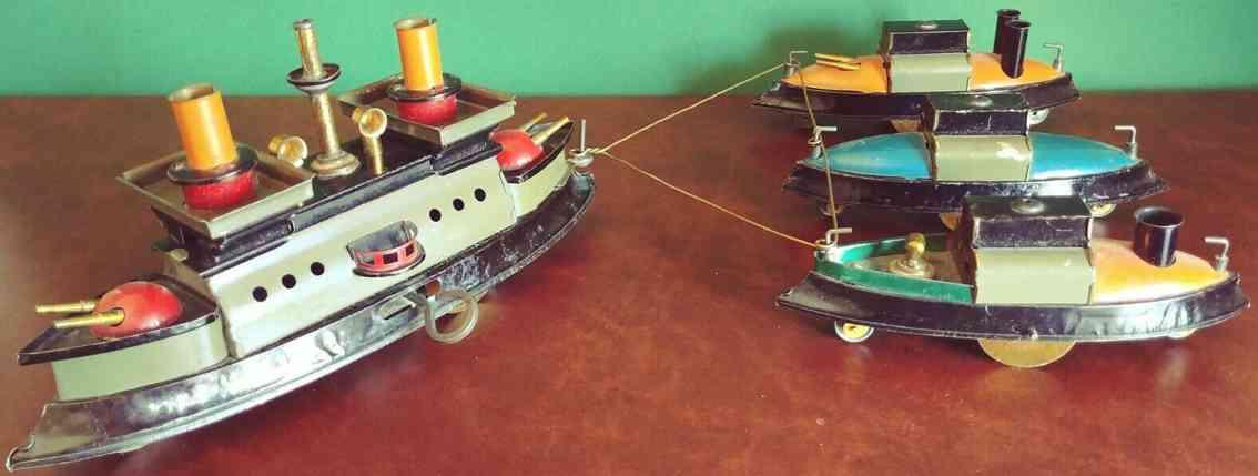 hess blech spielzeug schiffsflotte kanonenboot zwei Beiboote
