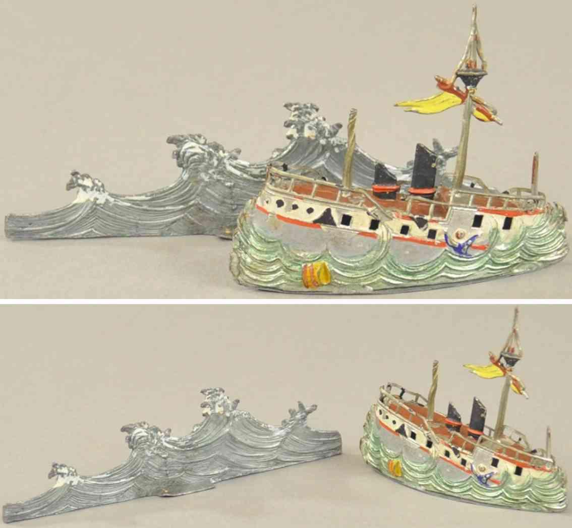 heyde blei spielzeug sinkendes dampfschiff auf dem meer