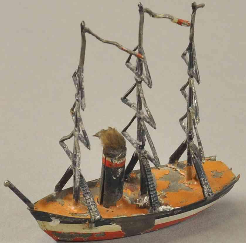 heyde spielzeug kriegsschiff blei ein kamin drei masten