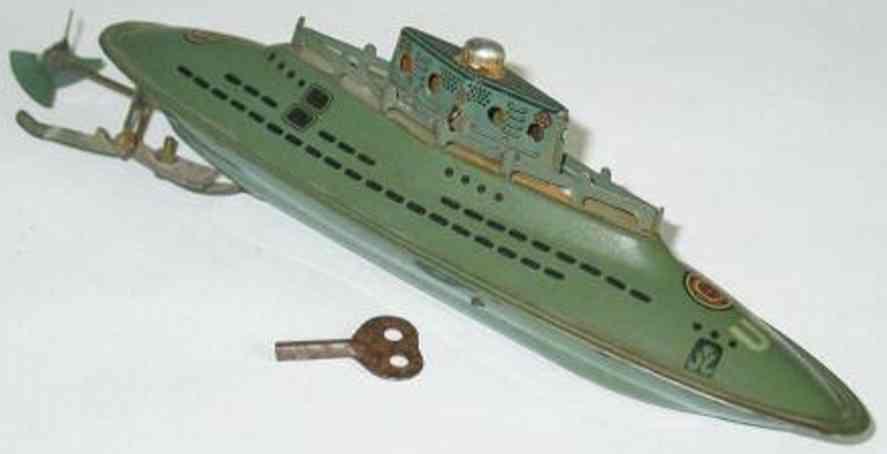 hoerndlein blech spielzeug u-boot uhrwerk u9