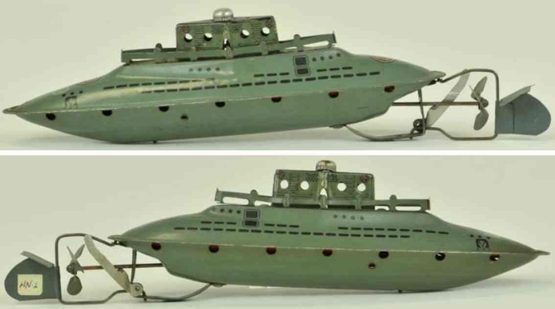 hoerndlein blech spielzeug u-boot grau uhrwerk