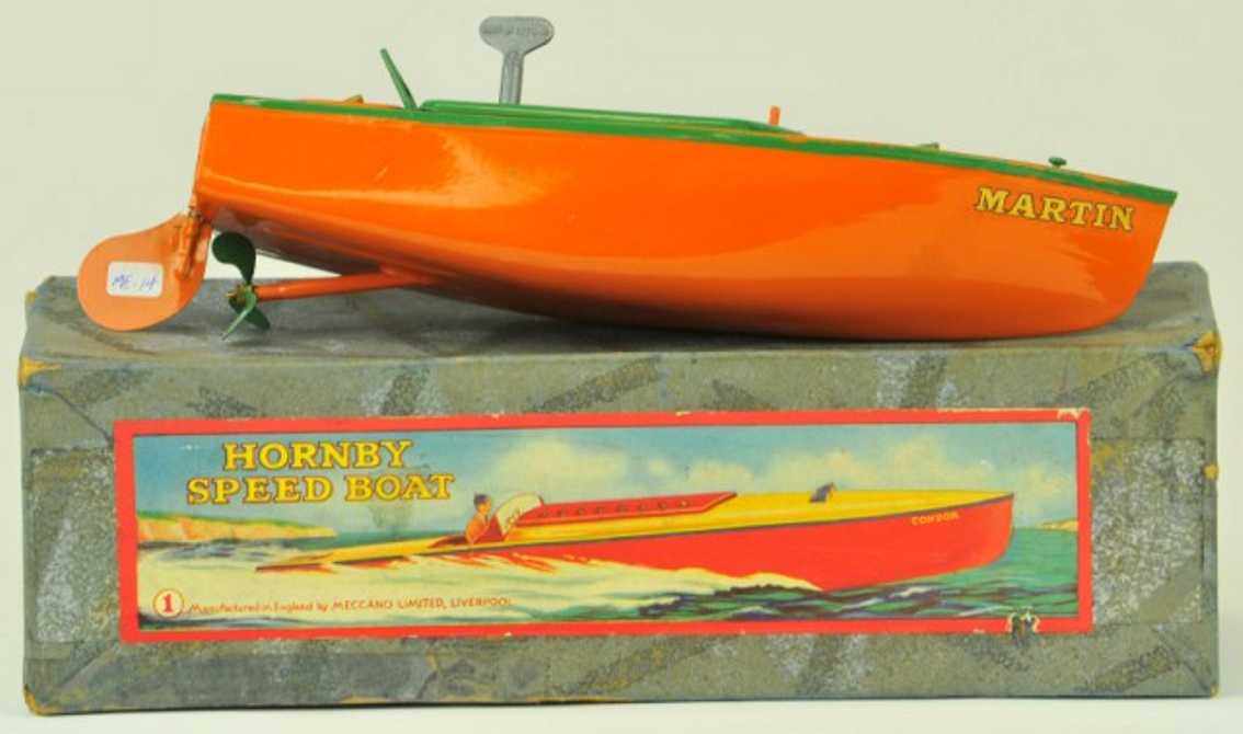 hornby 1 stahlblech spielzeug rennboot