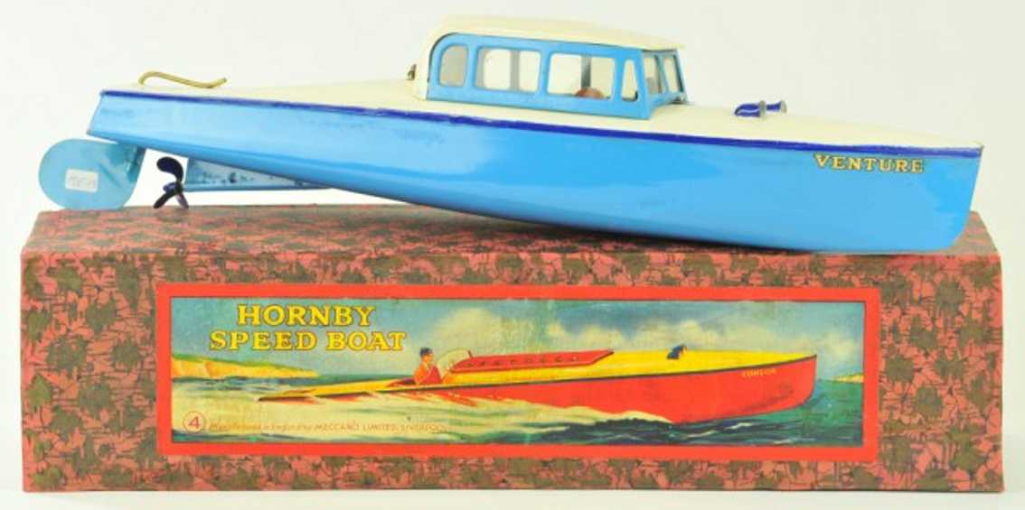 hornby 4 tin toy ship speed boat this venture clockwork