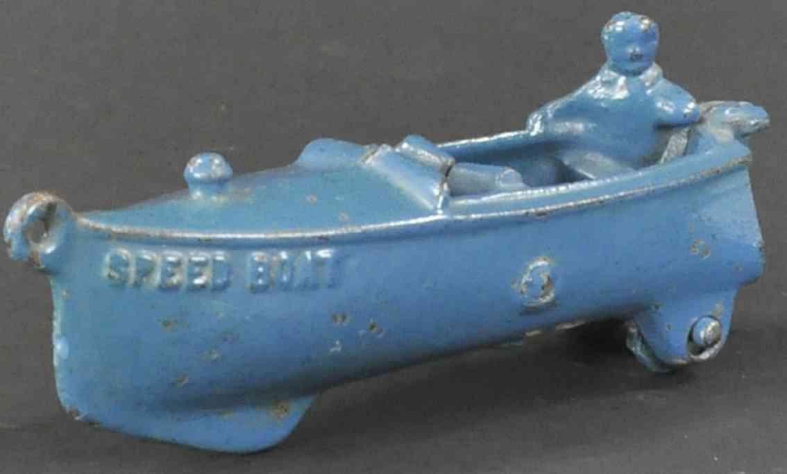hubley spielzeug gusseisen rennboot blau fahrer