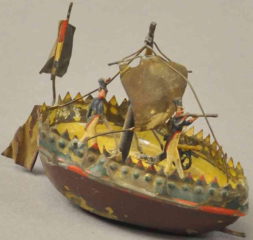 issmayer blech spielzeug segelboot mit drei soldaten