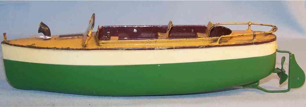 ives blech spielzeug motorboot gruen uhrwerk