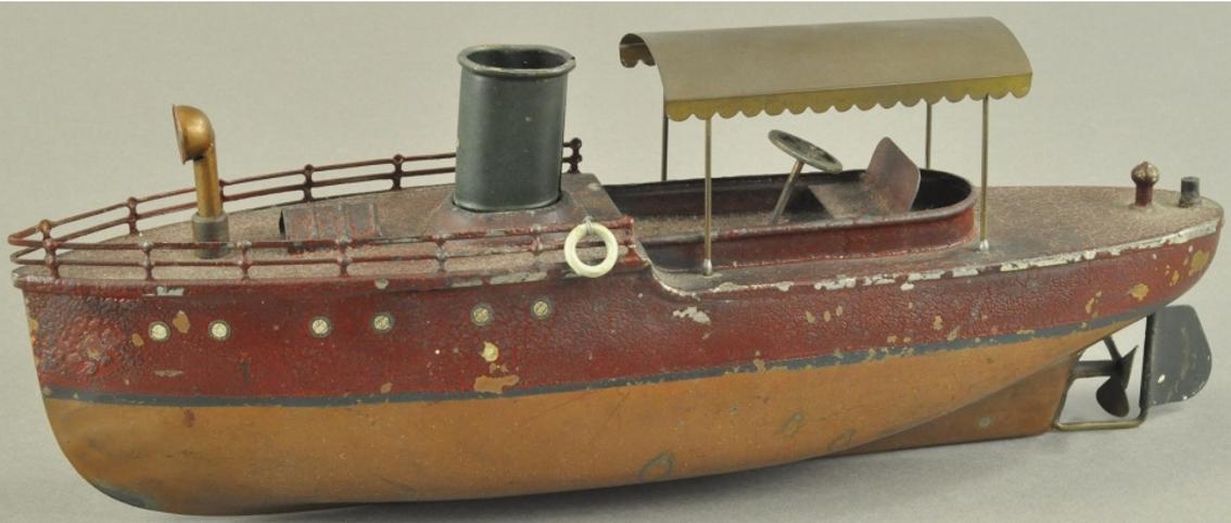 ives blech spielzeug uhrwerkboot braun rot