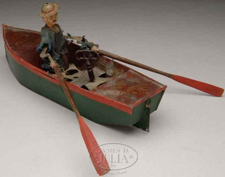 ives blech spielzeug ruderboot gruen rot mary uhrwerk
