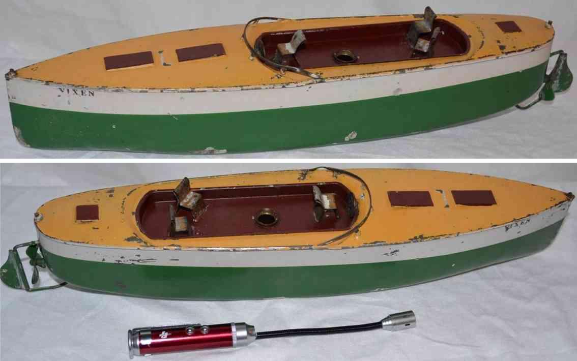 Ives Rennboot aus Blech mit Uhrwerk  VIXEN