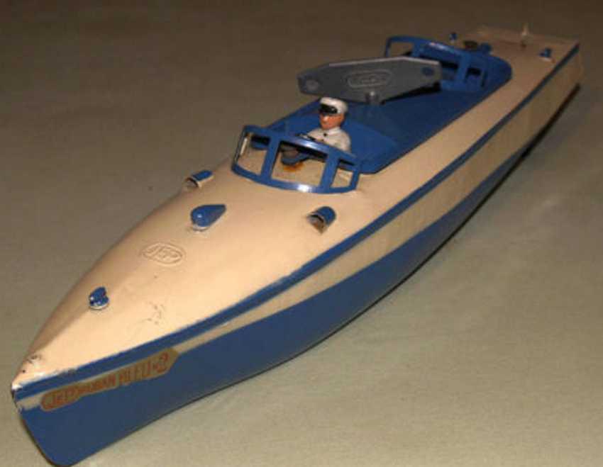 jep tin toy ship speedboat blue no 2