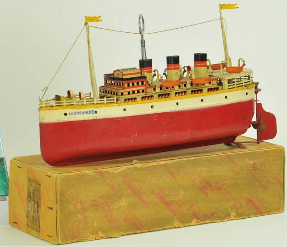 jep 912-6 tin toy ship ocean liner normandie
