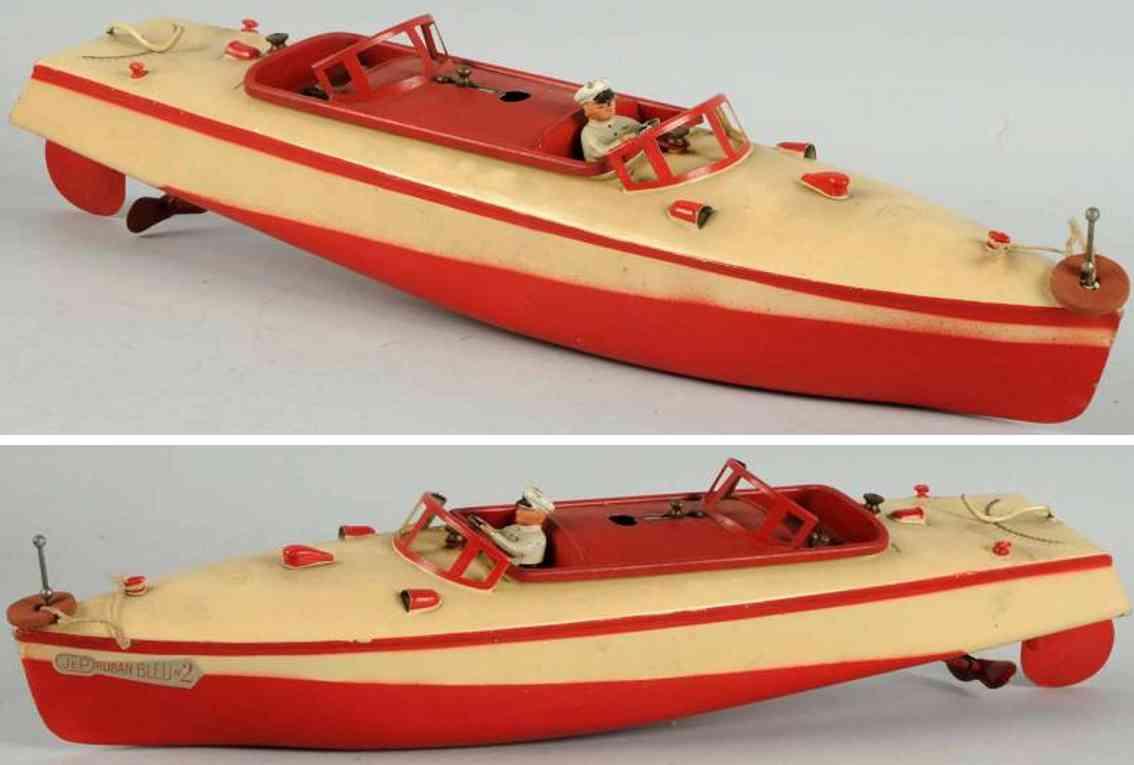 jep 915-2 tin toy ship tin wind-up speed boat
