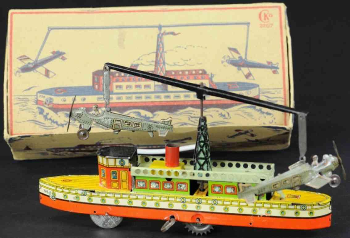 kellermann 226/7 blech spielzeug flugzeugschiff zwei flieger 227
