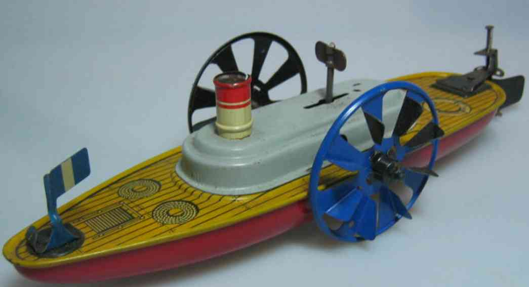 kellermann 287 tin toy ship wheel steamer clockwork