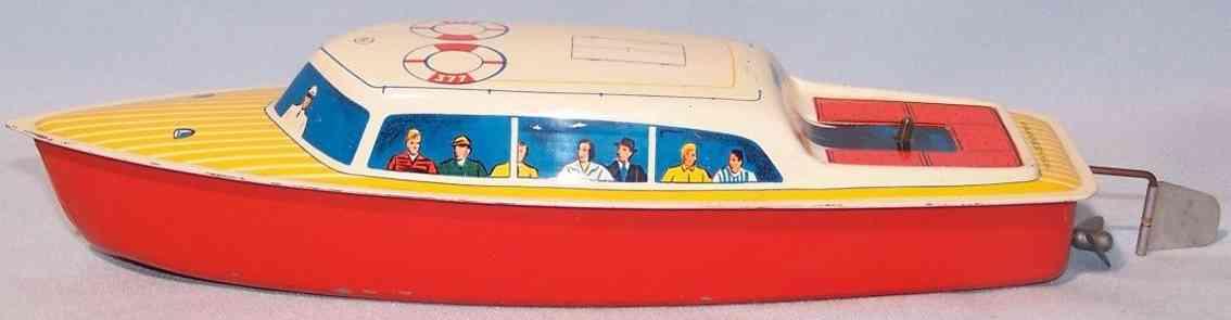 kellermann 377 blech spielzeug kabinenboot mit uhrwerk